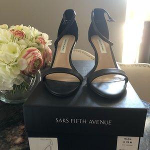 Saks Fifth Ave black Napa leather sandal heels